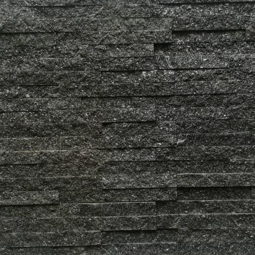 Kamień Elewacyjny Dekoracyjny Kwarcytowy Czarny 10x40